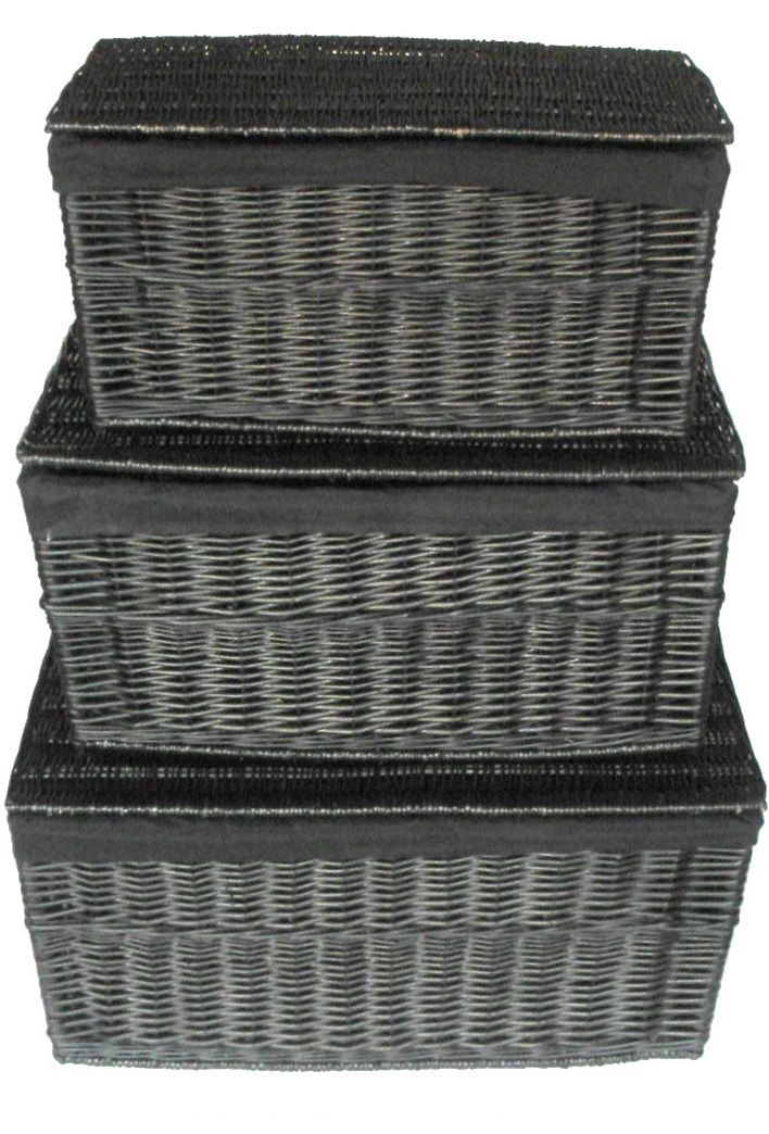 Shabby Chic White Strong Wicker Storage Chest Trunk Toy Blanket Box (WTROB)  ...